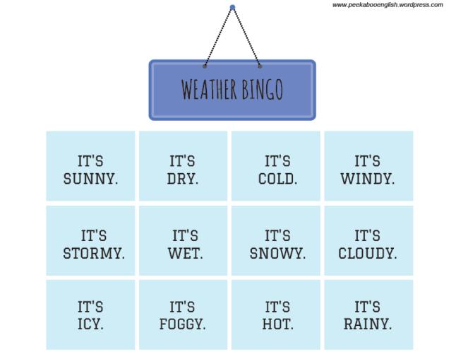 weather bingo - sentences - peekaboo